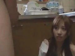 Asian Girl Getting Her Mouth And Pussy Drilled Whilst Standing Cum To Ass In The Kitchen
